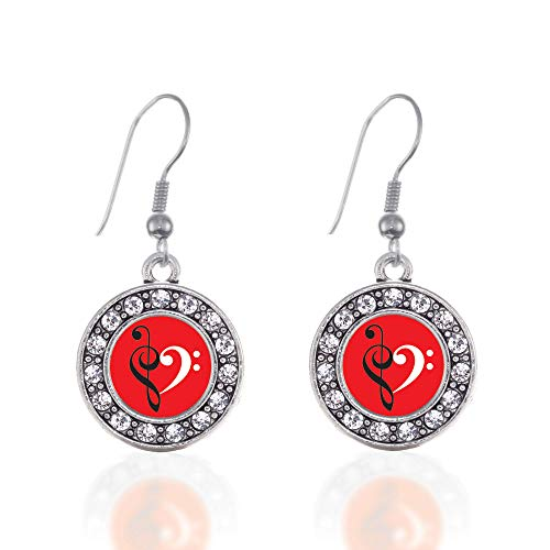 Inspired Silver - Music Is Love Charm Earrings for Women - Silver Circle Charm French Hook Drop Earrings with Cubic Zirconia Jewelry Circle Of Love Charm