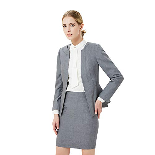 Women Business Suit Set for Office Lady Two Pieces Slim Work Blazer & Skirt (Light Grey, 2)