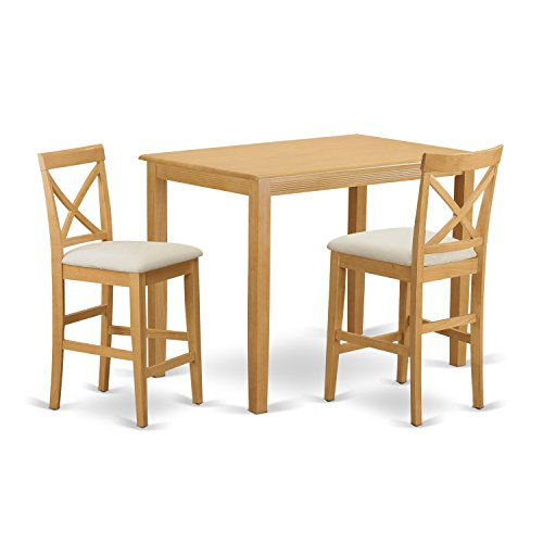 East West Furniture YAPB3-OAK-C 3 Piece Pub Table and 2 Counter Height Dining Chair - Dining Oak Rectangular Set Table