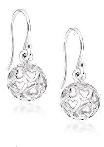 Tuscany Silver Silver Damen-Ohrringe Cut Out Hearts Ball Drop - 8.58.3399