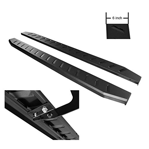 RAFTUDRIVE 6 in Carbon Steel Flat Running Boards Fit 09-18 DODGE RAM 1500 & 10-18 RAM 2500/3500 Crew Cab (With 2 full size front doors and 2 full size rear doors) (15 Running Board)