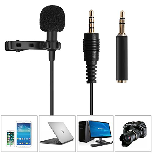 Lavalier Lapel Microphone,Omnidirectional Condenser Microphone Recording Clip-On for Computer PC Macbook iPhone iPod iPad Samsung All Smartphones,Perfect for Interviews,Skype,Audio Video (Lg Film Camera)
