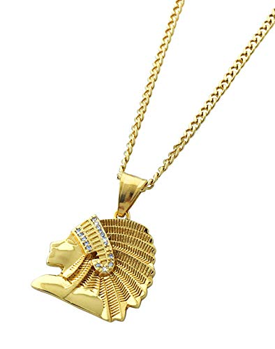 Exo Jewel 18k Gold Plated Native American Chief Pendant Necklace with 24