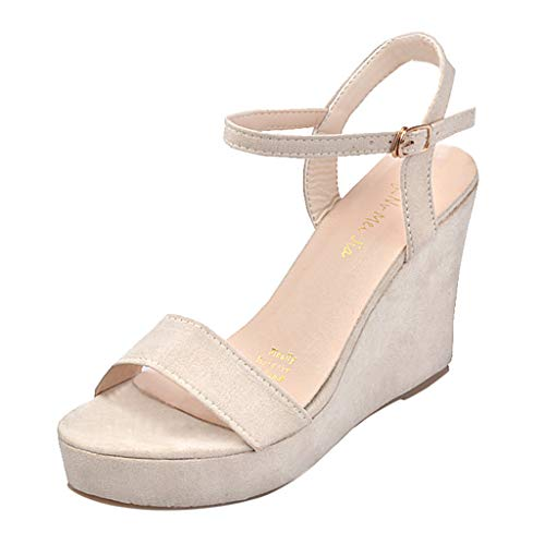 (SUNyongsh Fashion Ladies Summer Shoes Versatile Flat Open Toe Wedge with Metal Buckle Sandals Beige)