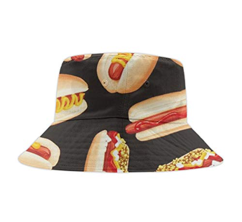 Unisex Washed Cotton Packable Fishing Summer Travel Bucket Hat Outdoor Cap Fun Food HOT Dogs]()