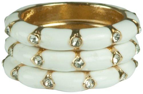 HamptonGems 3pcs-White Enamel & Crystal Stack RINGS-14KT Gold Plate Available