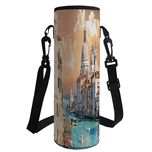 Water Bottle Sleeve Neoprene Bottle Cover,Cityscape,Grand Canal in Venice Italy Historical European Cityscape Town Tower Boho Print,Multi,Fit for Most of Water Bottles by iPrint
