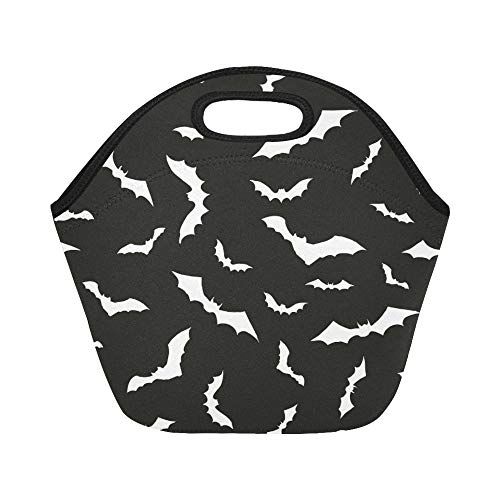 Insulated Neoprene Lunch Bag Seammles Swarm Bats On Black Large Size Reusable Thermal Thick Lunch Tote Bags For Lunch Boxes For Outdoors,work, Office, School
