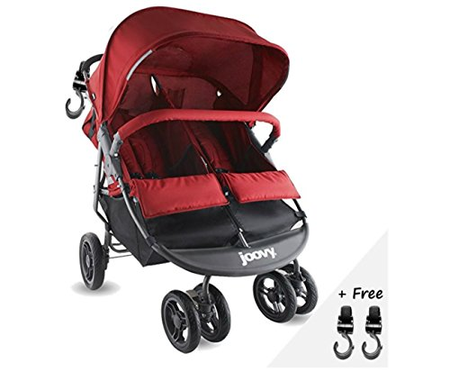 Premium Double Tandem Side By Side Baby Stroller, Umbrella (32 Pounds) For Infants, Toddlers And Kids, Red Color + Free Strap-on Awesome(R) Hooks!