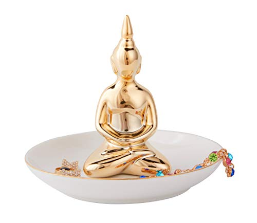 Jojuno Blessing Buddha Ring Holder Ceramic Jewelry Dish Tray Plate Perfect Place To Hold Rings, Bracelets, Necklaces and Other Jewelry, Golden Buddha, 5.1'' x 4.1'' by Jojuno