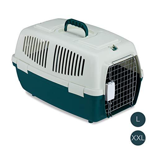 Relaxdays Transportbox für Haustiere, Tierbox für kleine Hunde, Katzen, Kleintiere, Flug & Reise, 32x35x53cm, weiß-grün