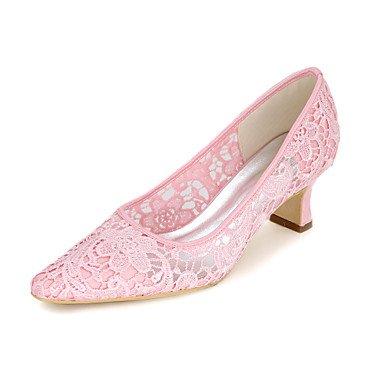 RTRY Las Mujeres'S Wedding Shoes Bomba Básica Net Primavera Verano Boda &Amp; Noche Applique Chunky Talón Marfil Rubor Rosa Negro Blanco2A-2 US5 / EU35 / UK3 / CN34