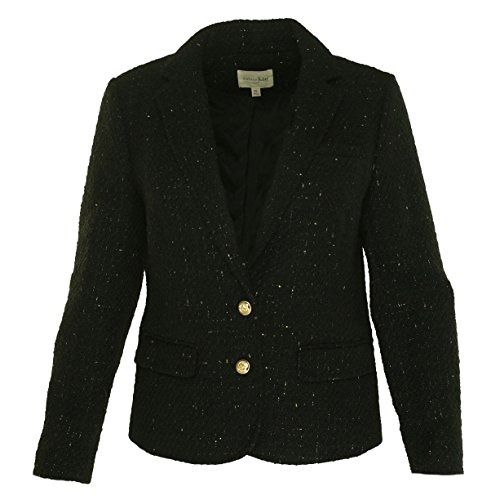 Maison Jules Womens Metallic 2 Button Blazer Black (Lined Wool Blazer)