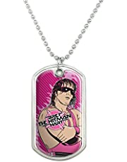 GRAPHICS & MORE WWE Hitman Bret Hart Military Dog Tag Pendant Necklace with Chain