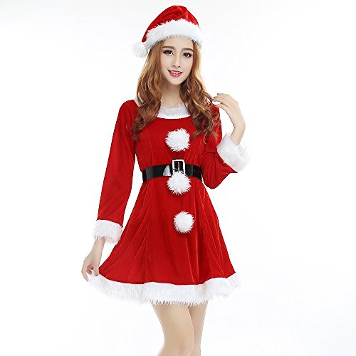 Veroman Women's Christmas Costume Mrs. Santa (Color-b) (Women Santa Costume)
