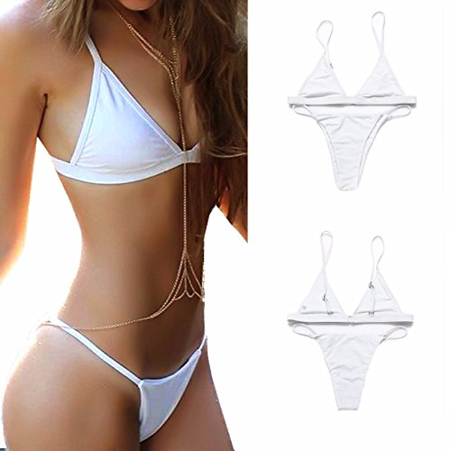 - FITTOO Sexy Bikini Set with Extender Strap for women Non Padded Classic Top String Hipster Bottom No Underwire White M