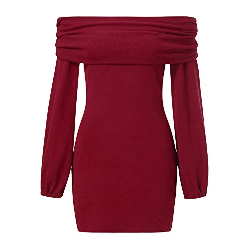 s,Women Off Shoulder Long Sleeve Elastic Stretchy Bodycon Mini Dress (M, Dress Wine Red) ()
