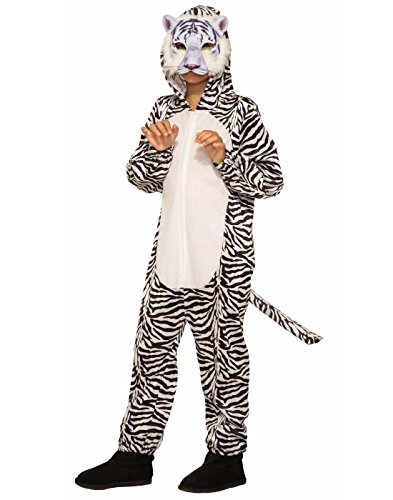 (Forum Novelties Party Supplies 80977 Tiger Jumpsuit And Mask Child's Costume, Medium, Black/White)