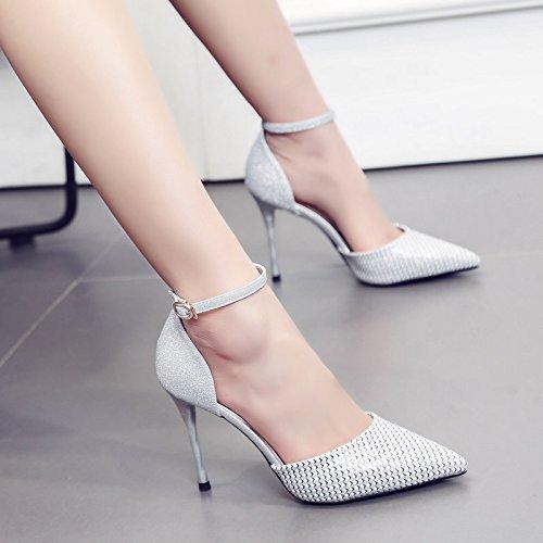 Avec Belle match Mot Couleur Silver Une Chaussures Talons Boucle 877 Tous Fait Femmes Printemps Chaussure Zhudj 7 Occupation 7nO6qwFxtX