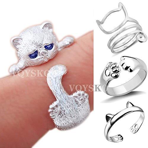 VQYSKO 4 Pcs Cat Rings Sterling Silver Cat Rings Kitty's Paw Ear Ring Set -