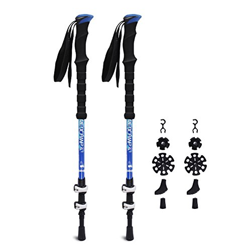 REDCAMP Walking Sticks for Hiking Carbon Fiber, 2 Piece Collapsible & Ultralight, 1 Year Warranty Easy Quick Flip Lock