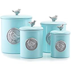 Old Dutch 1543 Rustic/Distressed Finish Bird Canister Set (4 Piece), Blue