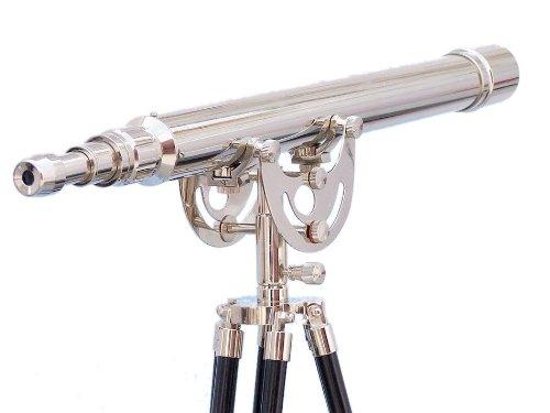 "Hampton Nautical Floor Standing Chrome Anchormaster Telescope, 50"", Chrome"