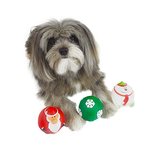 Holiday Dog Squeaky Ball Toy [3-Pack] | Red Santa Claus, White Polar Bear & Green Snowflake Ball Set | Great Dog Fetch Toys &Stress Relief Or Anti-Fidgeting Balls ()