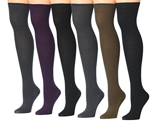 Tipi Toe Women's 6-Pairs Fashion Elegant Over The Knee Socks, (sock size 9-11) Fits shoe size 6-9, FV825-1
