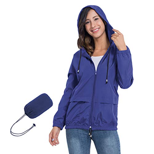 JTANIB Rain Jackets for Women, Lightweight Zip Up Hiking Travel Cycling Hooded Waterproof Raincoat M Sapphire Blue
