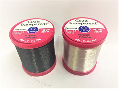 CESDes Bundle of Coats Transparent Invisible Sewing Threads 9900 & 9950 Light and Dark 400 yds Each Spool Polyester