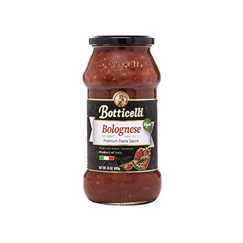 Botticelli Vegan Bolognese Premium Pasta Sauce. Delicious Homemade Style Red Sauce Made in Italy, with Soy and Natural Ingredients in Small Batches. (24oz/680g)