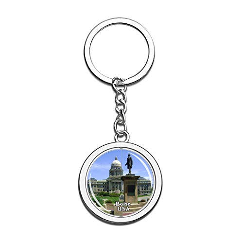 Keychain Idaho State Capitol Building Boise United States USA US Keychain Crystal Spinning Round Stainless Steel Keychains Souvenir Key Chain Ring -