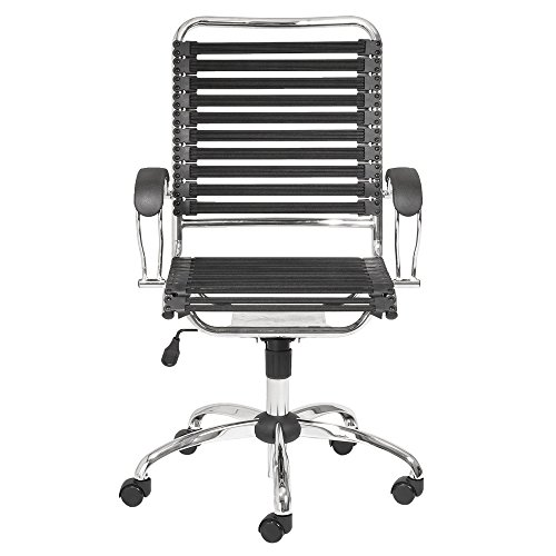 Bobbie High Back Adjustable Office Chair with Flat J-Arm - Black/Chrome
