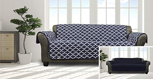 (Quick Fit Coby Durable Quality Reversible Water Resistant Cover for Dogs, Kids, Pets-Sofa Slipcover for Couch, Recliner, Loveseat or Chair, Navy)