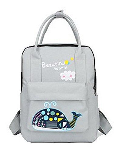 Dos Mode Randonnée Sacs ROFBL181027 de Gris Odomolor Femme Nylon Daypacks à Daypack Zippers qBxz5