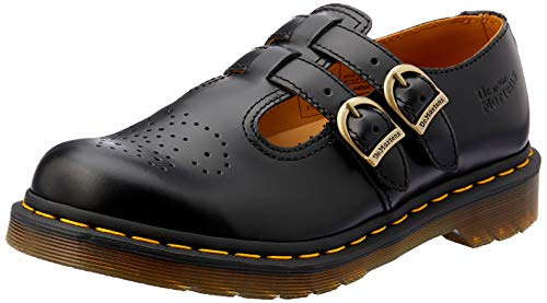 Dr Martens Women's 8065 Mary Jane Buckle Leather Shoe Black-Black-6 (Doc Martens Dr Shoes)