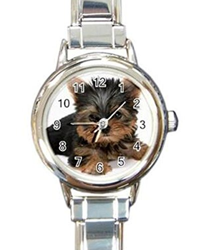Cute Yorkshire Terrier Puppy Dog Custom Womens Round Charm Wrist Watch