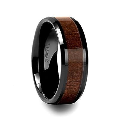 Amazon Com Yukon Black Ceramic Wedding Ring With Walnut Wood Inlay