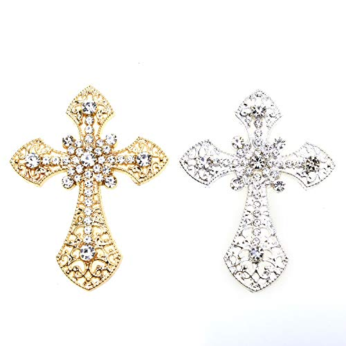 Monrocco 6 Piece Rhinestone Cross Shape Applique Patches DIY Embellishments for Brooches Clothes Decoration Flatback Scrapbooking Crafts, Silver and - Silver Rhinestone Cross