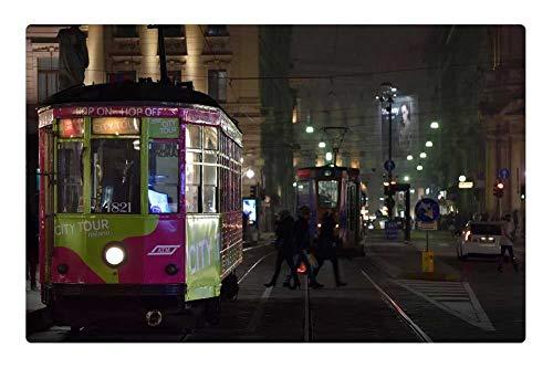 Indoor Floor Rug/Mat (23.6 x 15.7 Inch) - Tram Milan Tracks People Trip Transport City