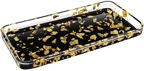 Luxspire Toilet Tank Storage Tray, Countertop, Kitchen, Vanity Serving Tray, Jewelry Organizer Perfume Tray for Dresser, Counter or Desk - Gold Black