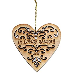 Twisted Anchor Trading Co 2018 Memorial Ornament - in Loving Memory Ornament, Memorial Christmas Ornament, Heart Shaped Wood Ornament - Comes in an Organza Gift Bag So Its Ready for Giving