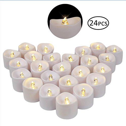 YYCH Battery Operated LED Tea Lights, Pack of 24, Flameless Votive Tealights Candle with Warm White Flickering Bulb light, Small Electric Fake Tea Candle Realistic for Wedding, Table, Gift,Outdoor