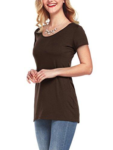 Marrone T Top Blusa Donne Casual shirt Tunic Casuale Ufficio Amoretu Elegante Cotone gaFq4Z