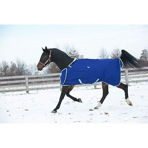 (Hug Prize 200gm Medium Weight Turnout Blanket, Navy/Light Blue, Size 78)