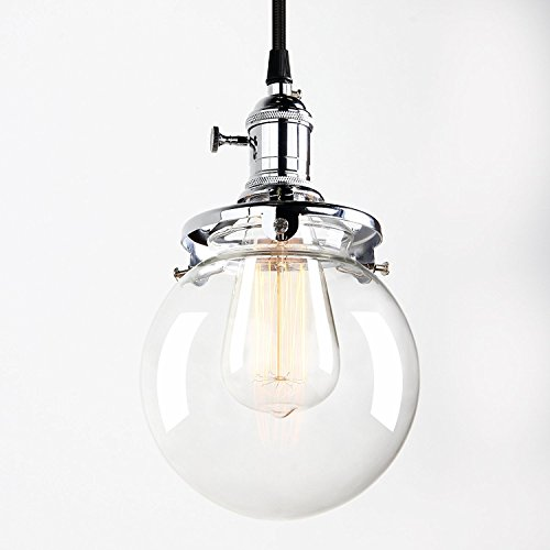 Glass Round Rose (Pathson Industrial Mini Pendant Light with Round Clear Glass Globe, Vintage Style Hanging Pendant Light Fixture with hardwired for Kitchen Island)