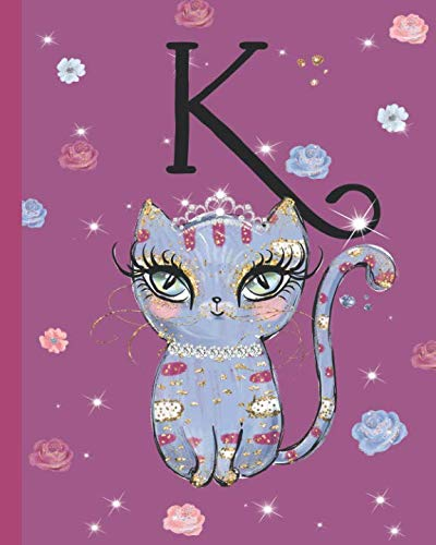 K: Kitty Cat Journal, personalized monogram letter K blank lined diary with interior pages decorated with kitty cats and flowers. -