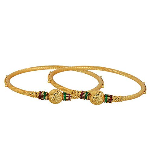 (Efulgenz Fashion Jewelry Indian Bollywood Traditional 14 K Gold Plated Multicolor Bracelet Bangle Set (2 Pc))