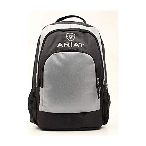 (Ariat Unisex Black/Classic Grey Side Water Bottle Pockets Backpack Grey One Size)